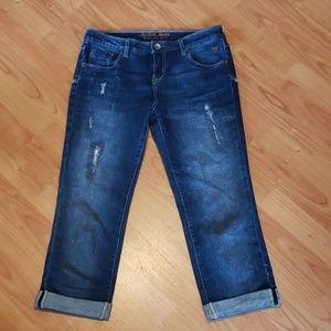 Justice distressed crop capri jeans